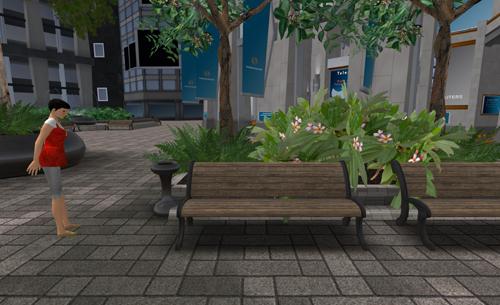 Bank mit Aschenbecher, einem ebenso beliebten wie rätselhaften Kultobjekt in Second Life.