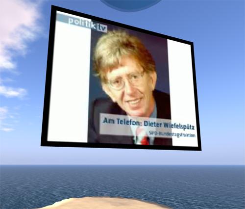 Dieter Wiefelspütz beim Telefonieren mit Second Life