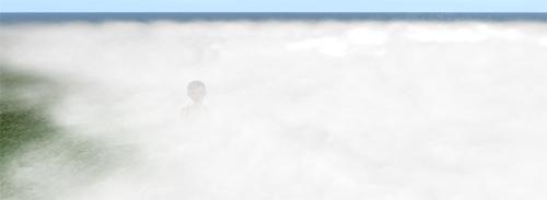 Forschungsleiterin testet die Schutzfunktion des Bodendampfs. Sie ist kaum mehr zu sehen.